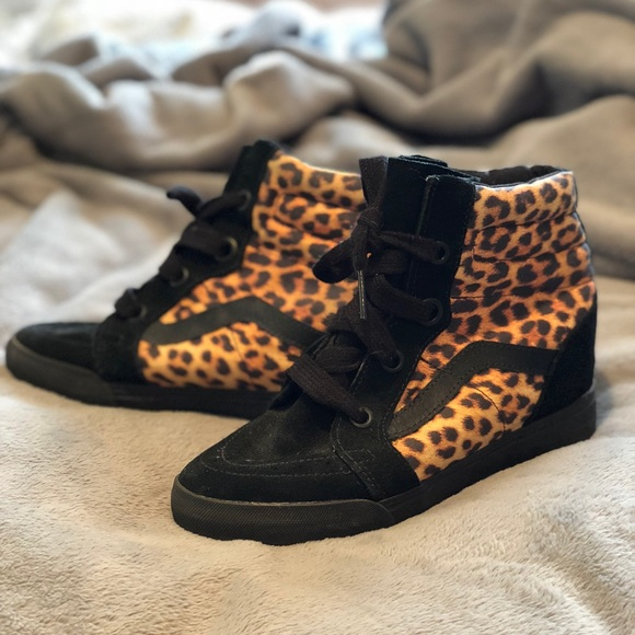 e97695313214 Vans Shoes | Suede And Leopard Print Hightops With Wedge | Poshmark